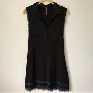 Free People Black Lace Trim Dress